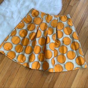 Lane Bryant New Pleated Orange Circle Print Skirt